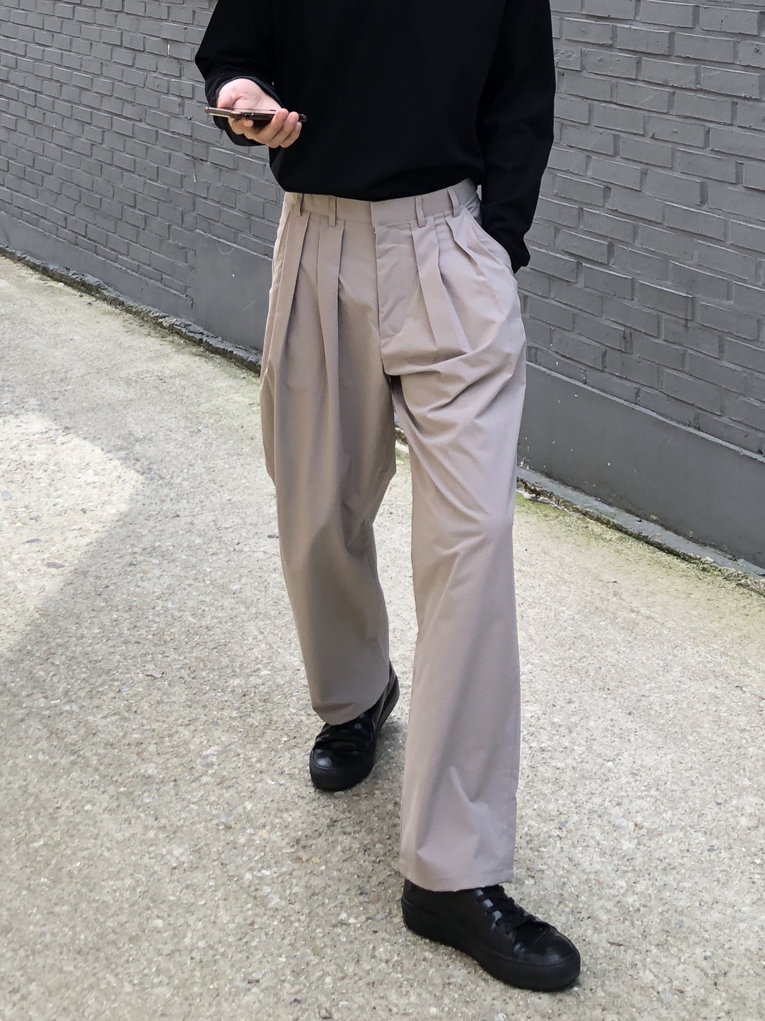 Poly Two Tuck Wide Pants