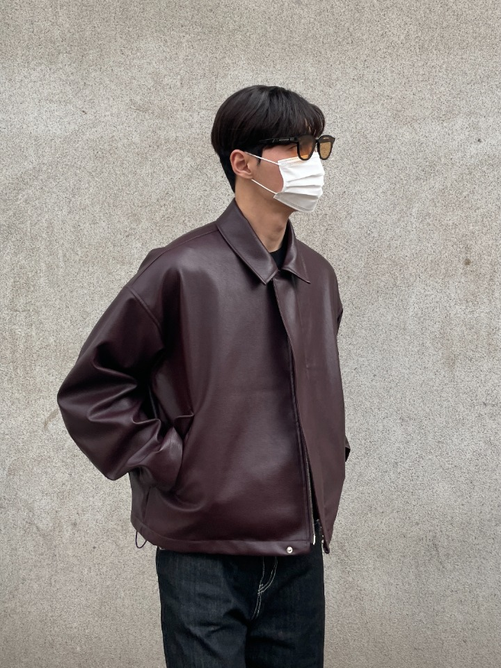 Vegan Leather Pocket Blouson (Burgundy)